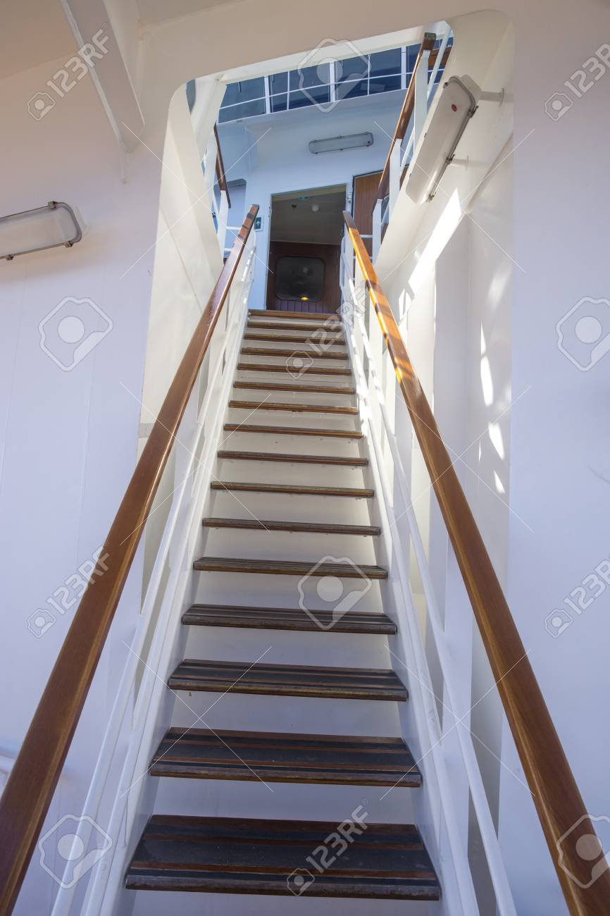 Steep Stairs To The Bridge On A Cruise Ship Stock Photo   62472097