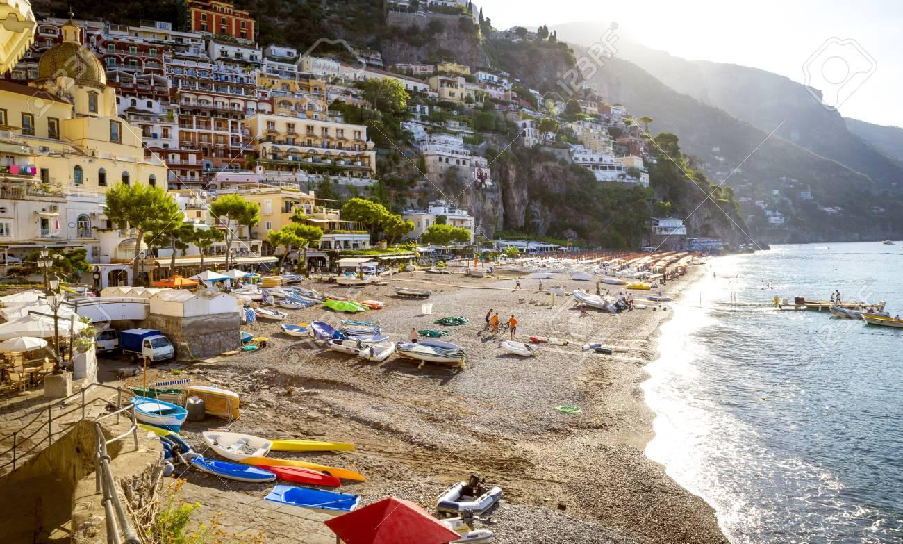 Amalfi Coast Beach In Positano Town Italy