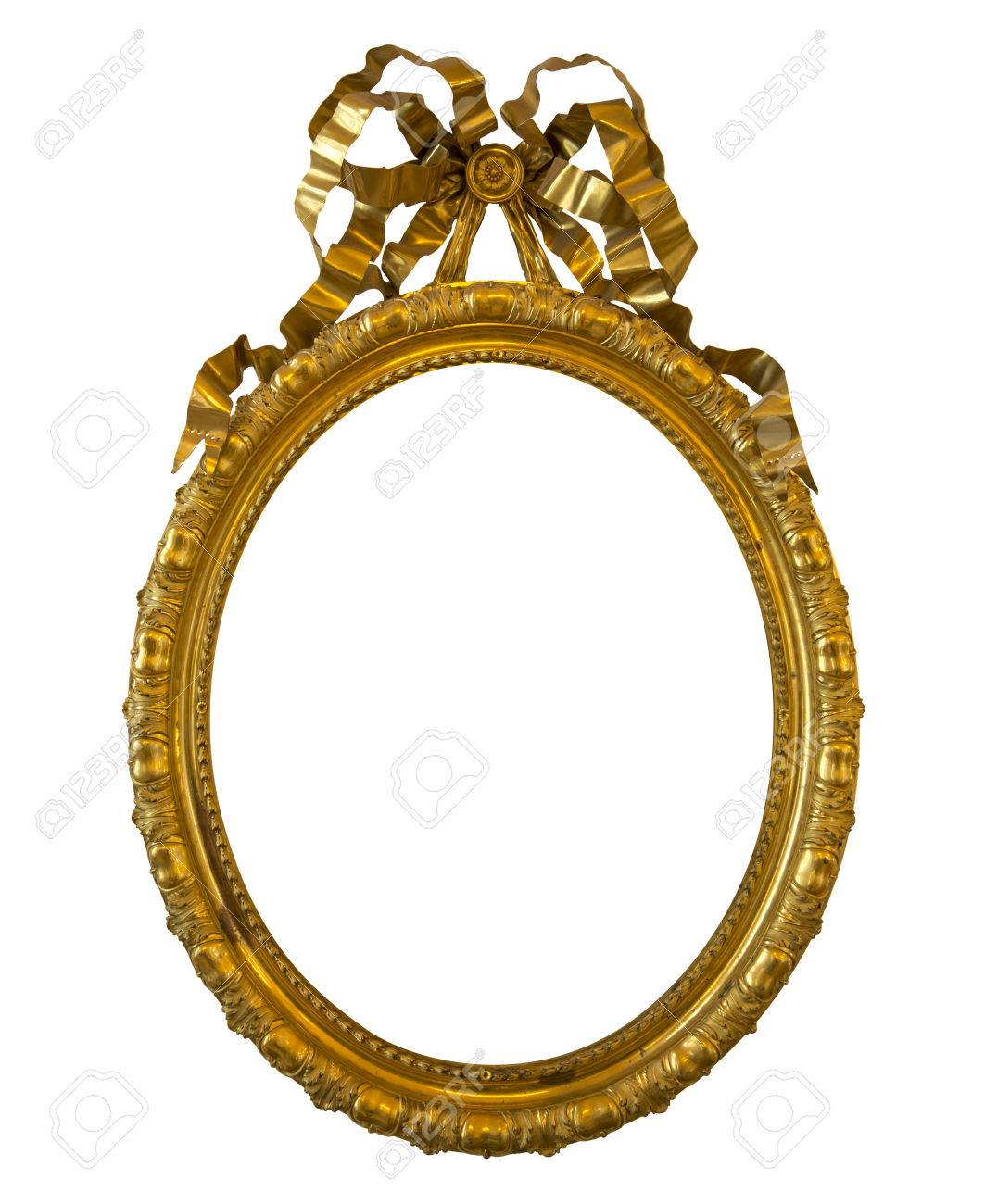 Antique Oval Golden Frame Isolated On White Background Stock Photo ...