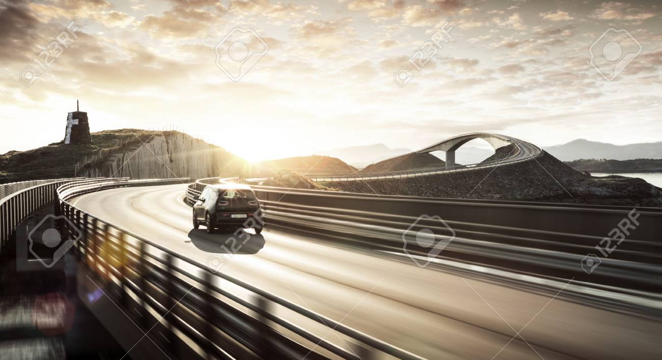 Environment Friendly Electric Car On A Road Stock Photo Picture And Royalty Free Image Image 86323407