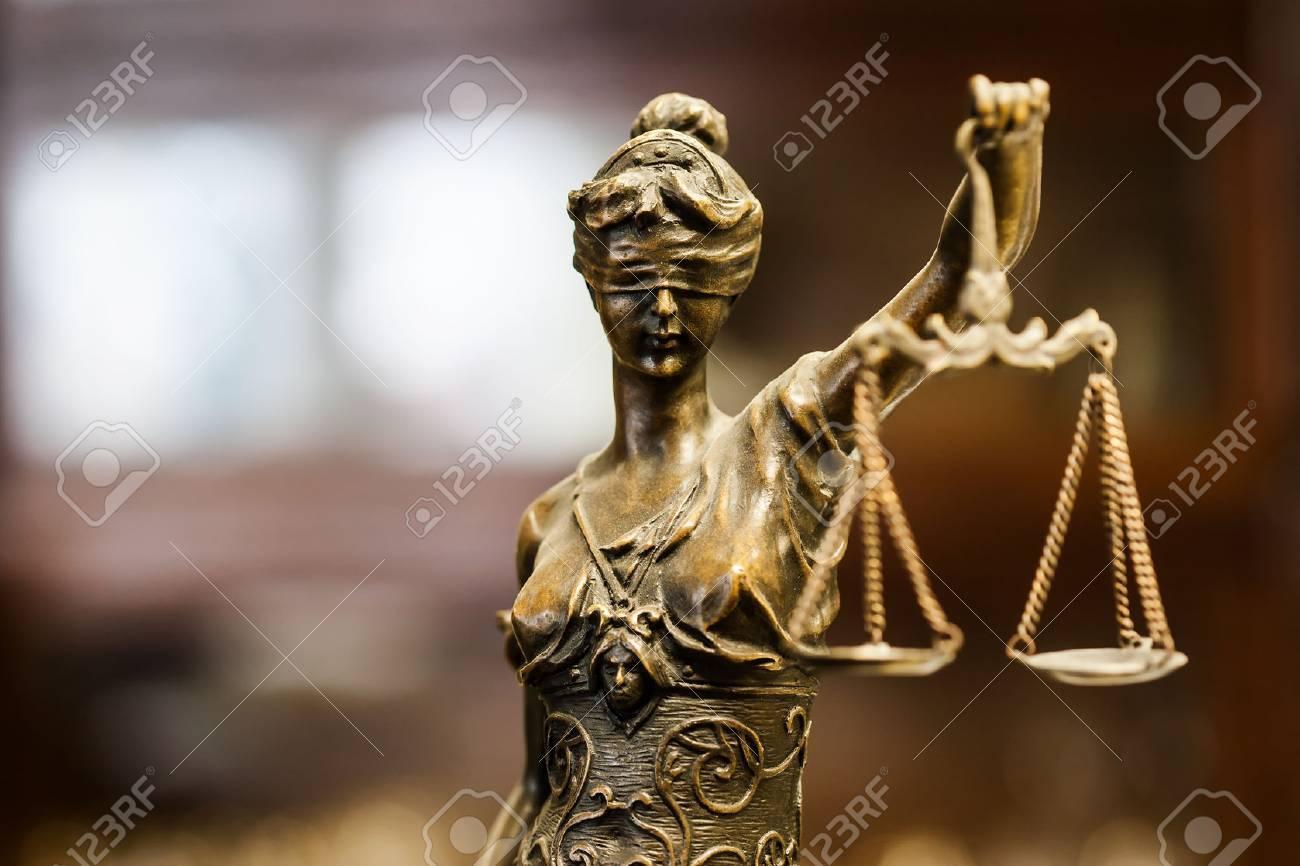 Bronze statuette of justice (focus on face) - 56858582
