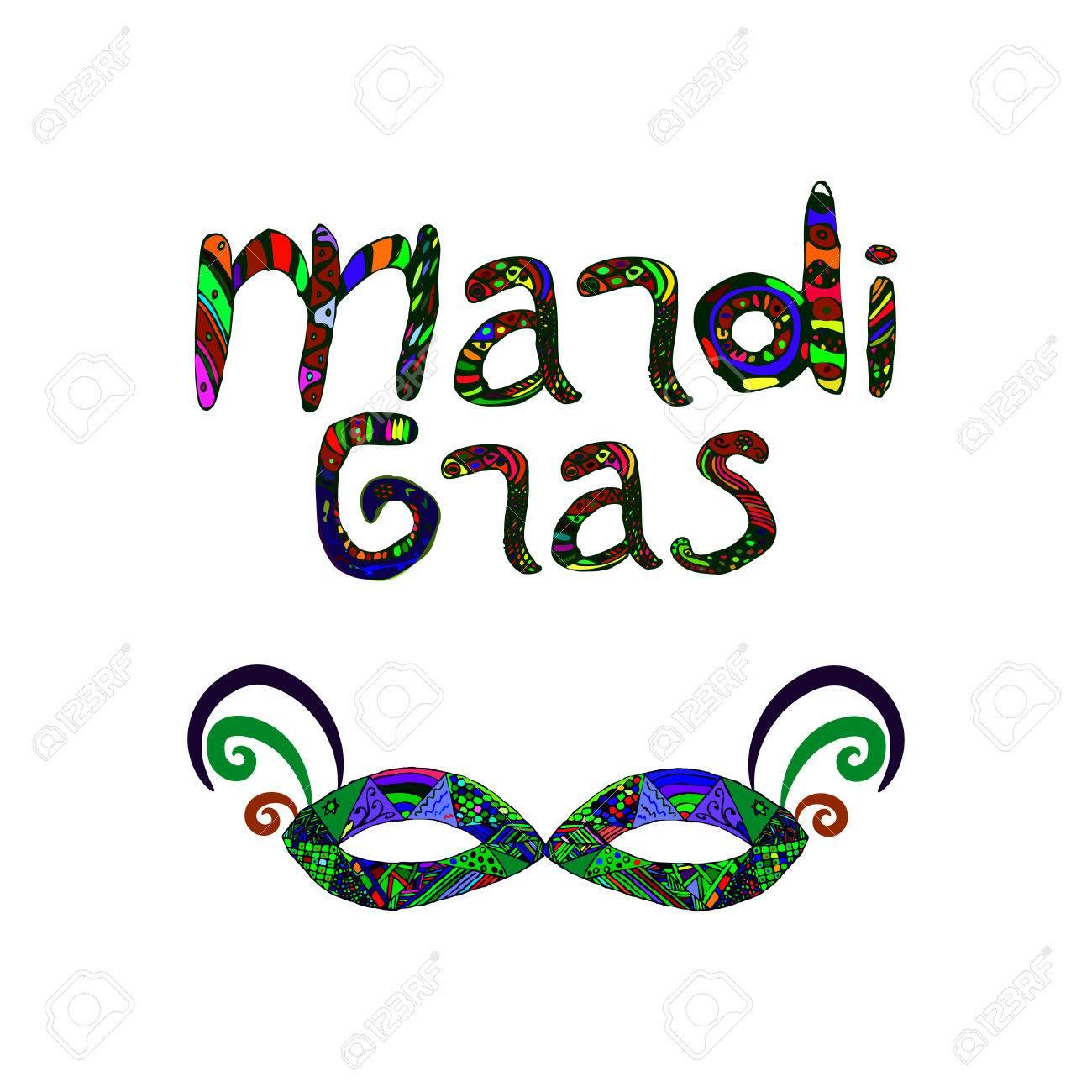 acheter maintenant vente chaude site professionnel Mardi Gras. Mardi Gras. Masque de carnaval. Inscription couleur. Doodle,  lettrage, zentangle Dessin à main Illustration vectorielle