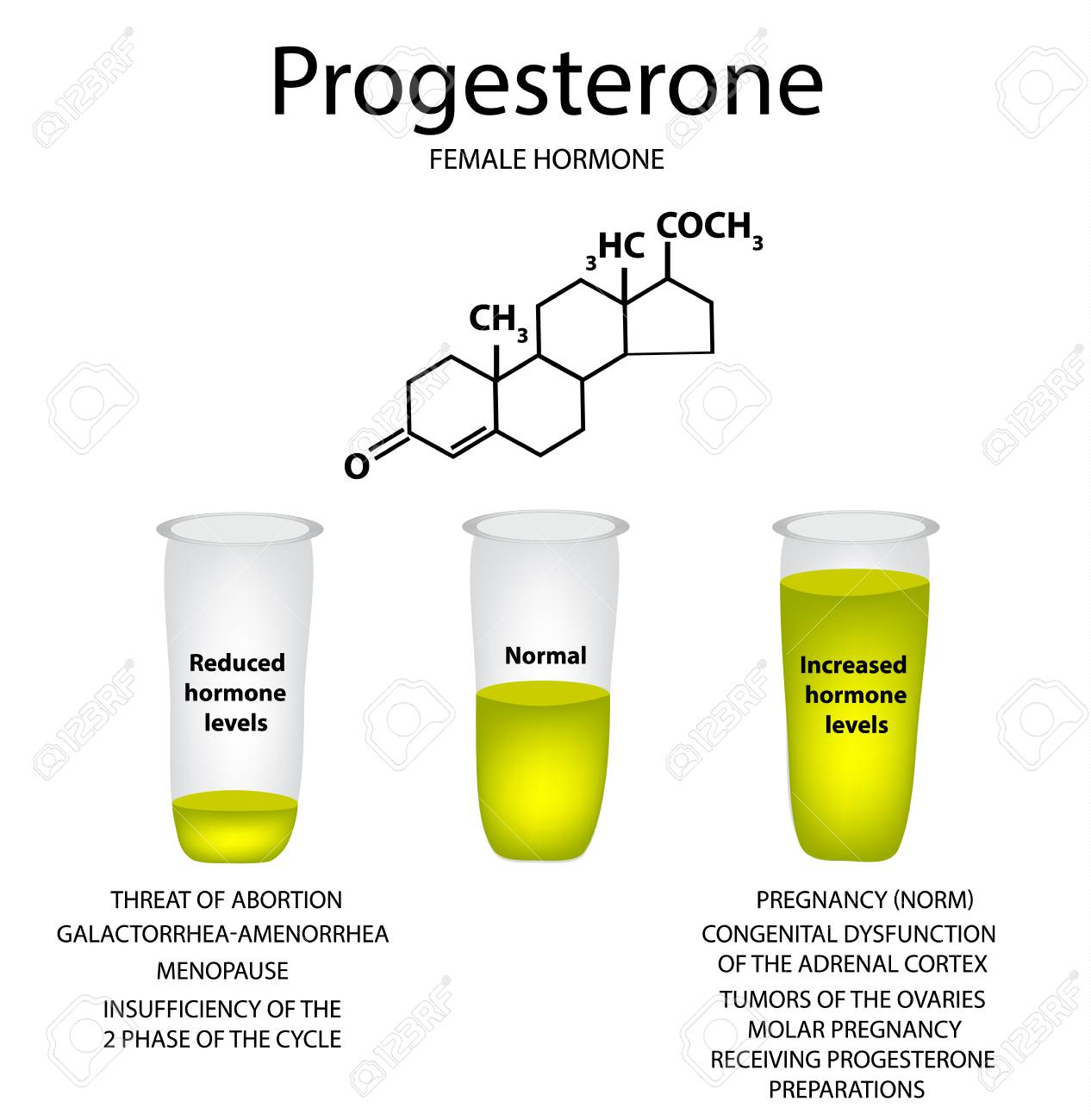 The chemical molecular formula of the hormone progesterone  Female