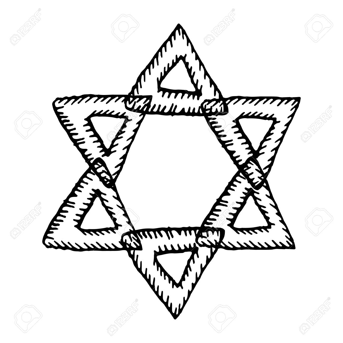 The six pointed star of david the jewish sign hand draw doodle the jewish sign hand draw doodle biocorpaavc Choice Image