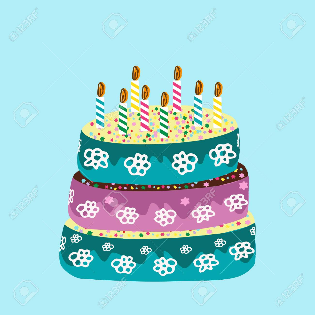 Astonishing Beautiful Birthday Cake With Birthday Candles Doodle Hand Funny Birthday Cards Online Alyptdamsfinfo