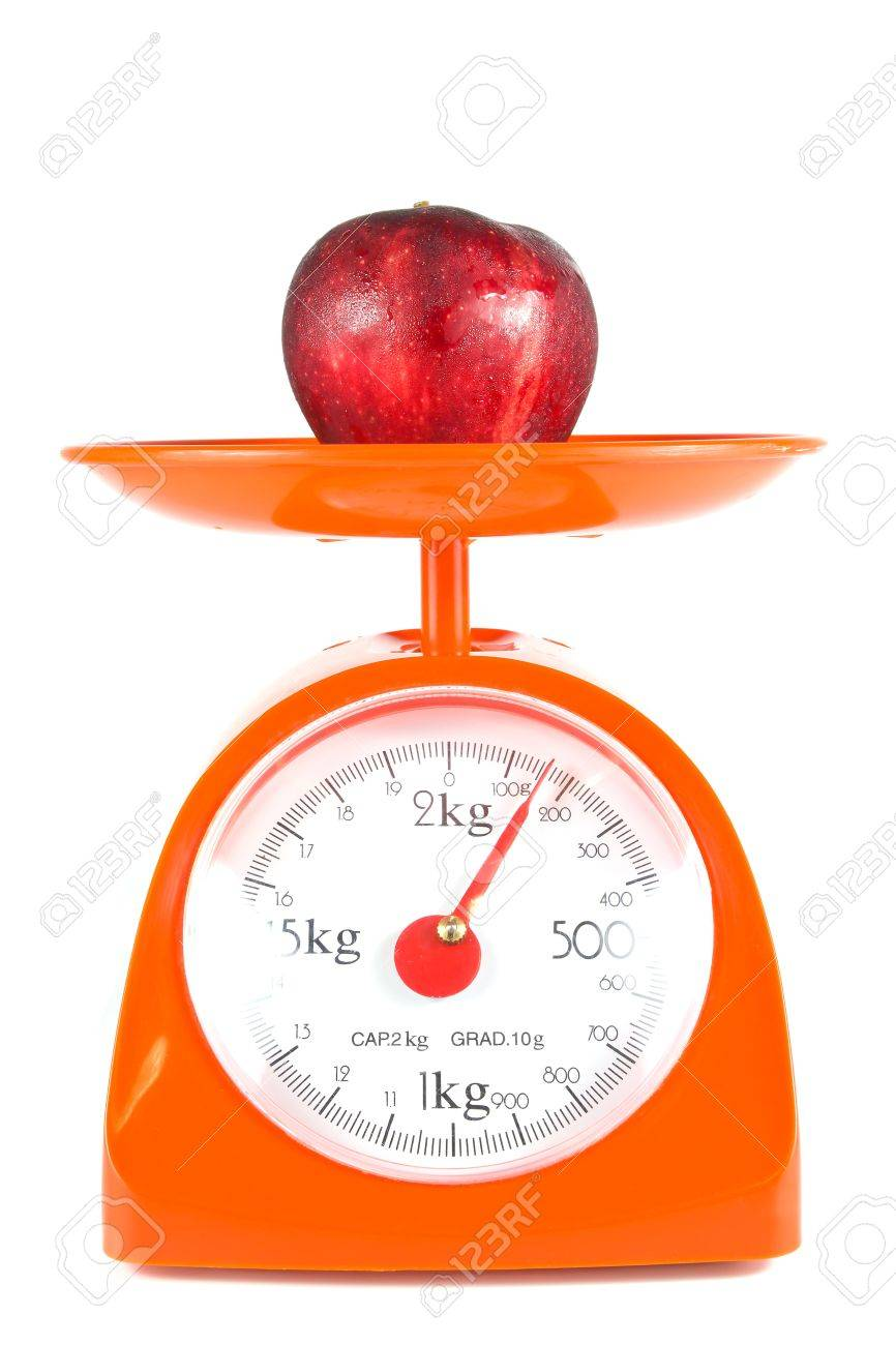 One Apple Lying On Weight Scale Stock Photo Picture And Royalty Free Image Image 11231446