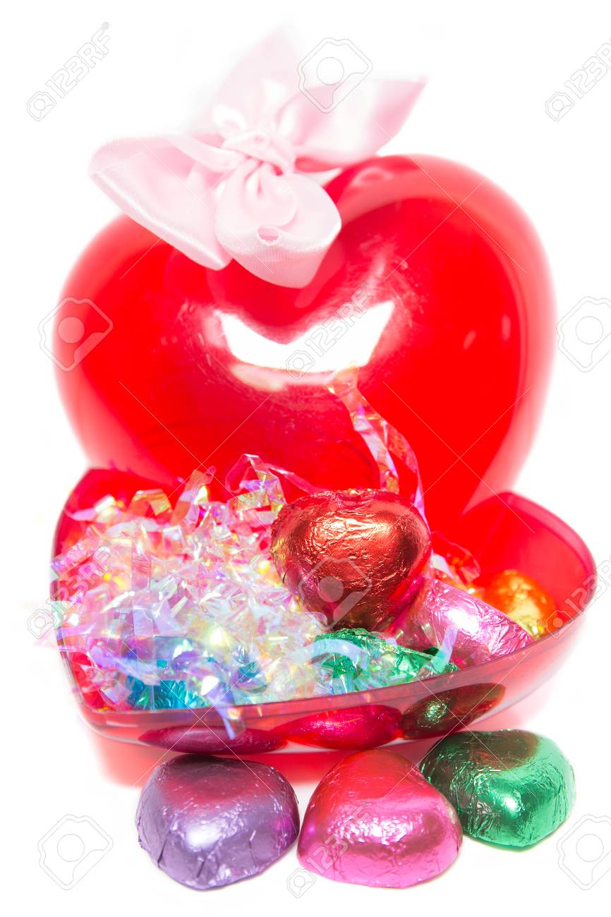 Valentine S Day Chocolate Gift Set On White Background Heart
