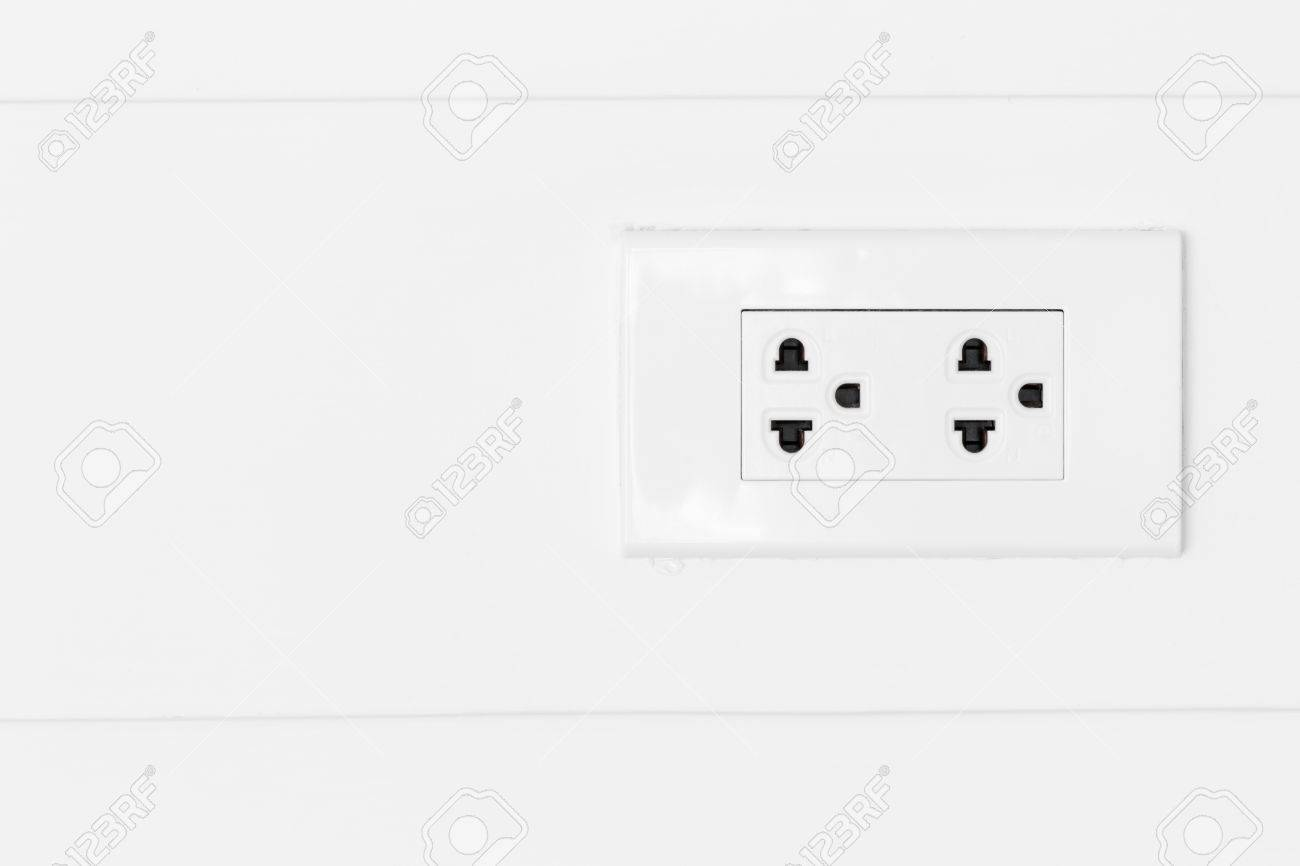 White Plugs On White Wood Wall, Plug Copy Space, Plug Socket ...