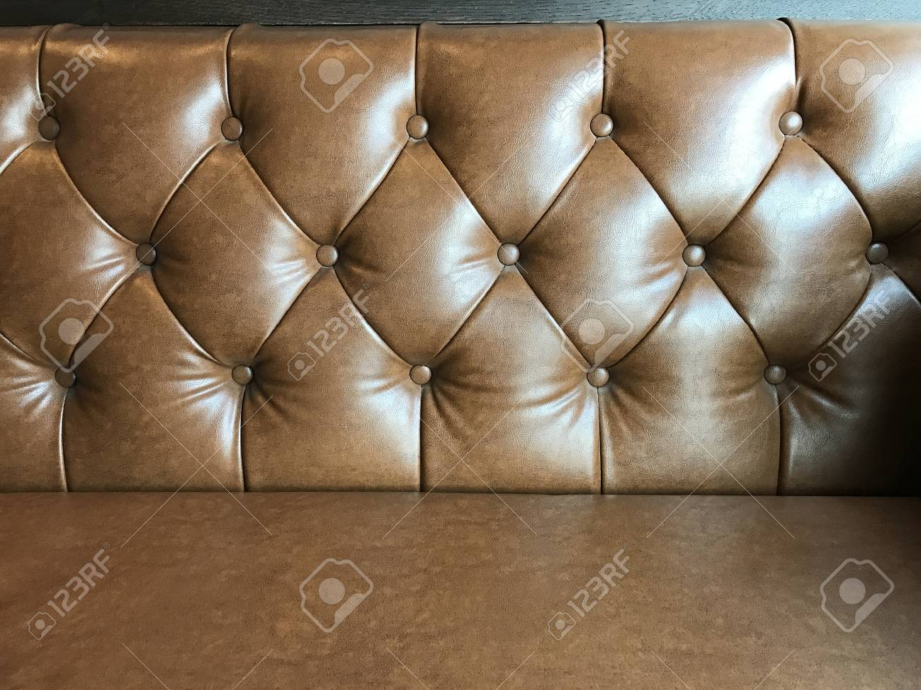 Vintage Brown Leather Texture Sofa Background In The Cafe Stock