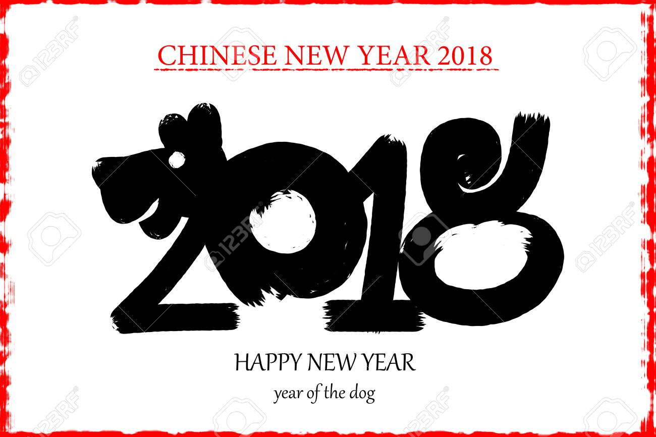 2018 happy new year text calligraphic lettering design card template creative typography for holiday