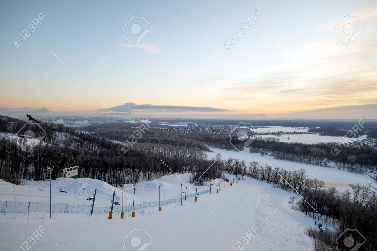 ski slope in Ufa in the early morning - 170592502