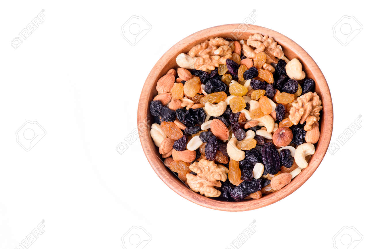 healthy food. bowl with nuts isolated on white background - 170592614