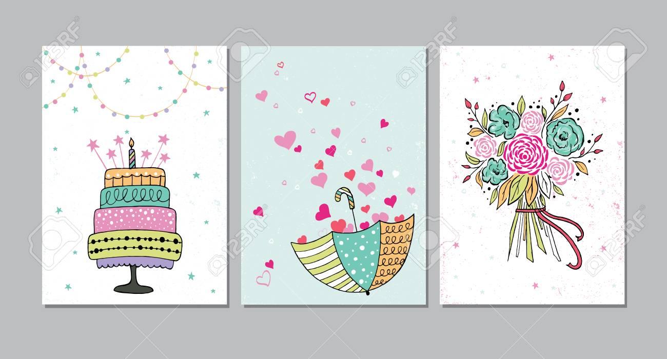 Conjunto De Cumpleaños Hermoso El Amor La Felicitación Salvar La Invitación De La Fecha Tarjetas De Invitación Decoradas Con Ramo De Colores