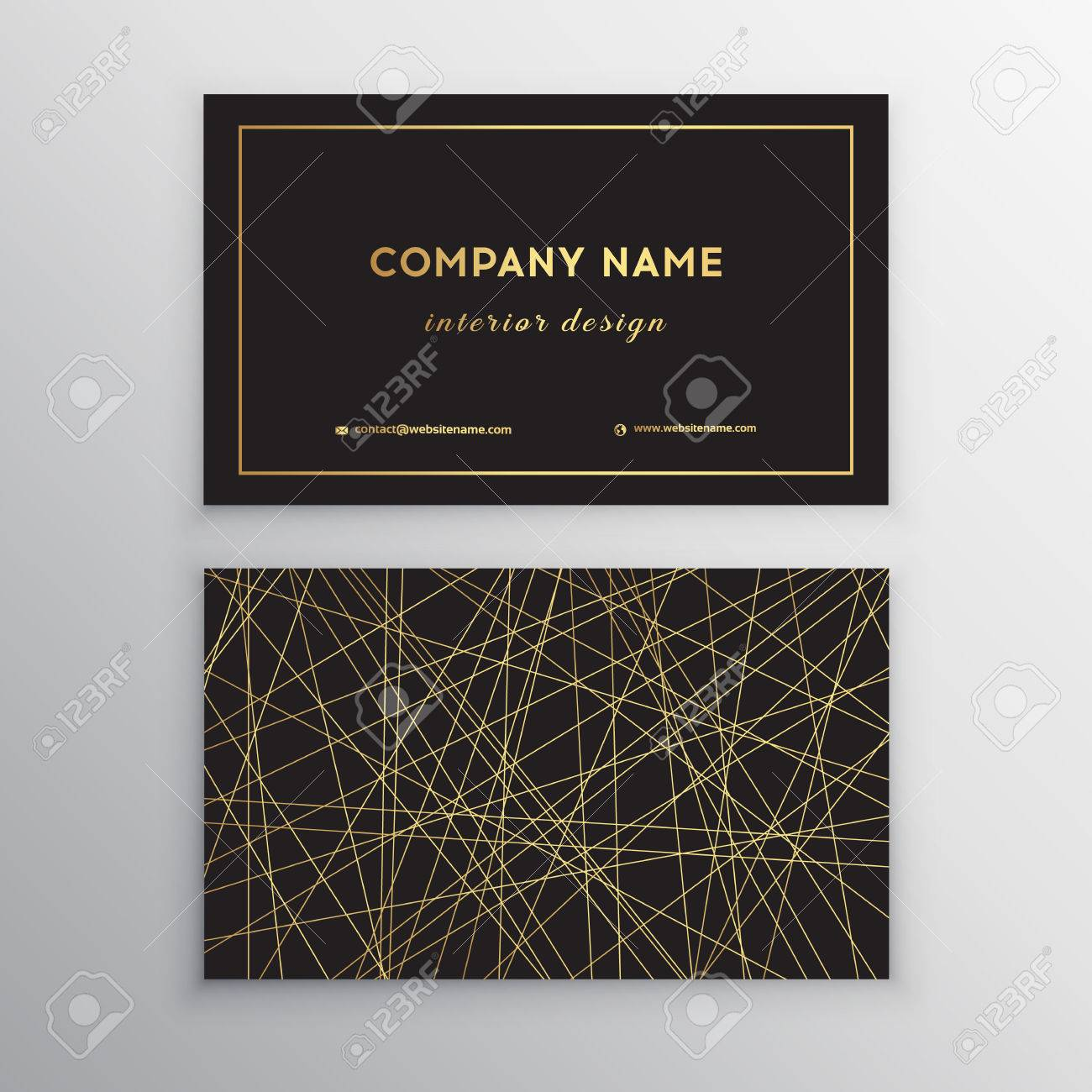 Luxury Business Card. Gold And Black Horizontal Business Card ...