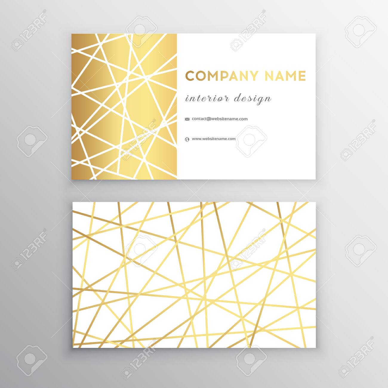 Luxury Business Card Gold And White Horizontal Template Design For Personal Or