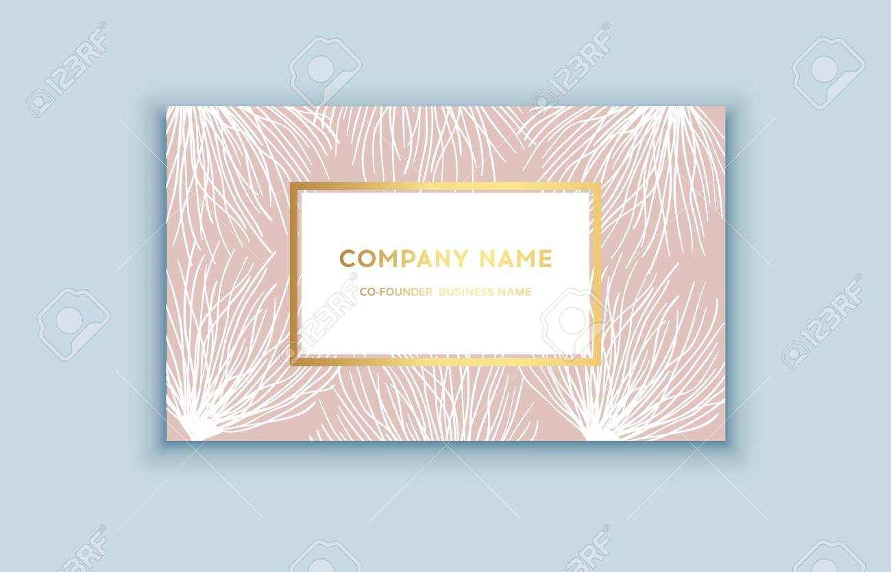 Vector Tropical Pink And Gold Business Card. Exotic Design For ...