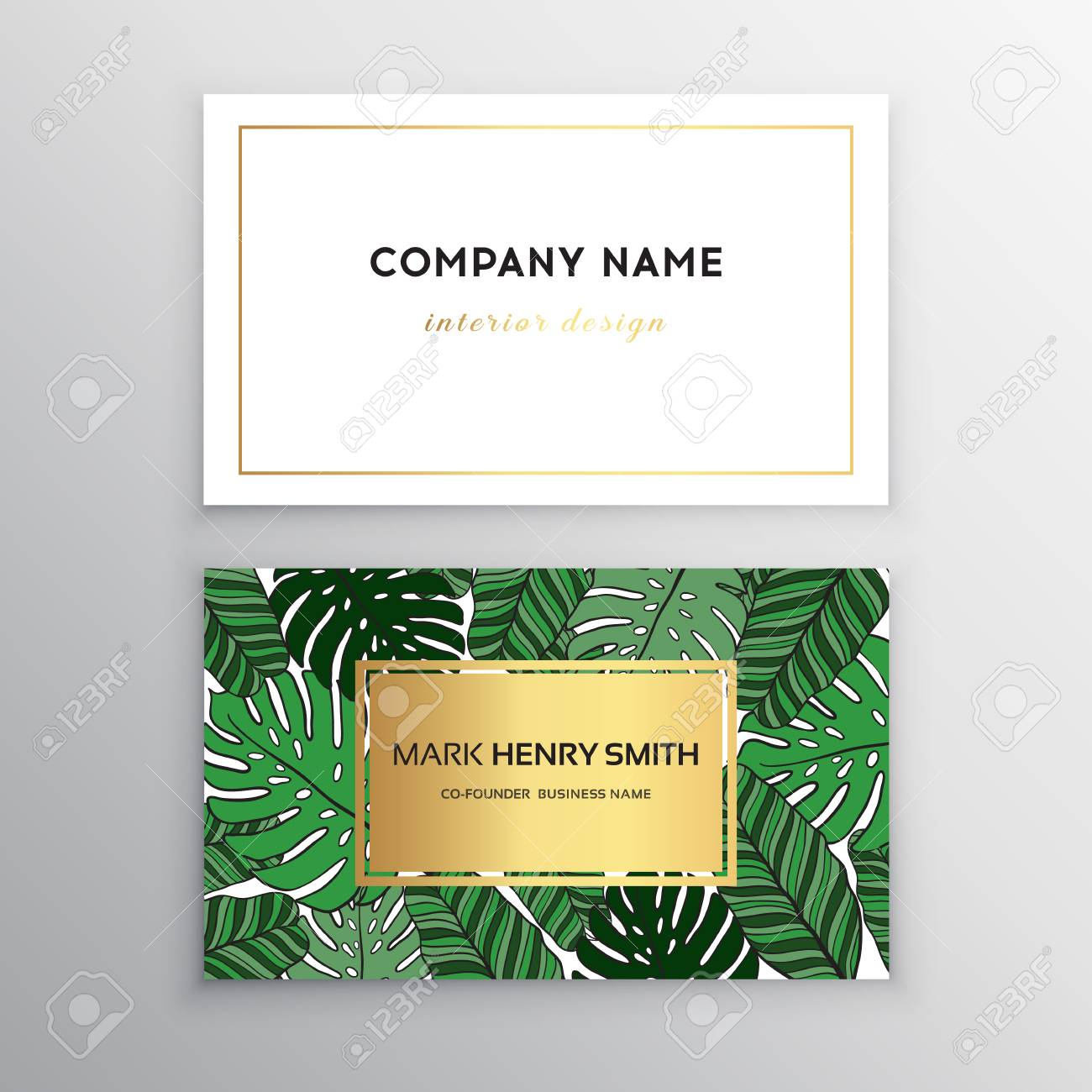 business cards gold design tropical leaf vector illustration corporate identity templates in tropical