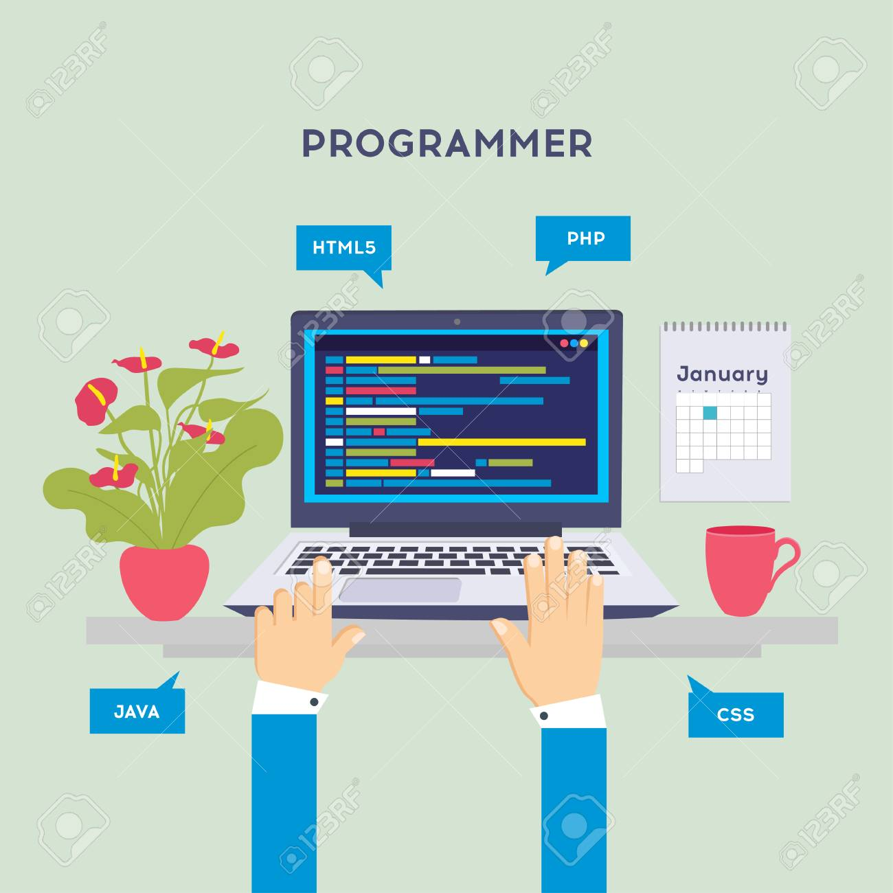 Workplace of programmer or coder. Software coding, programming languages, testing, debugging, web site, search engine seo Vector illustration in flat style - 126912713