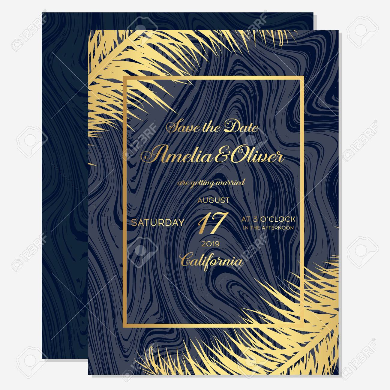 Set Wedding Invitation Cards With Gold Palm On Dark Blue Background