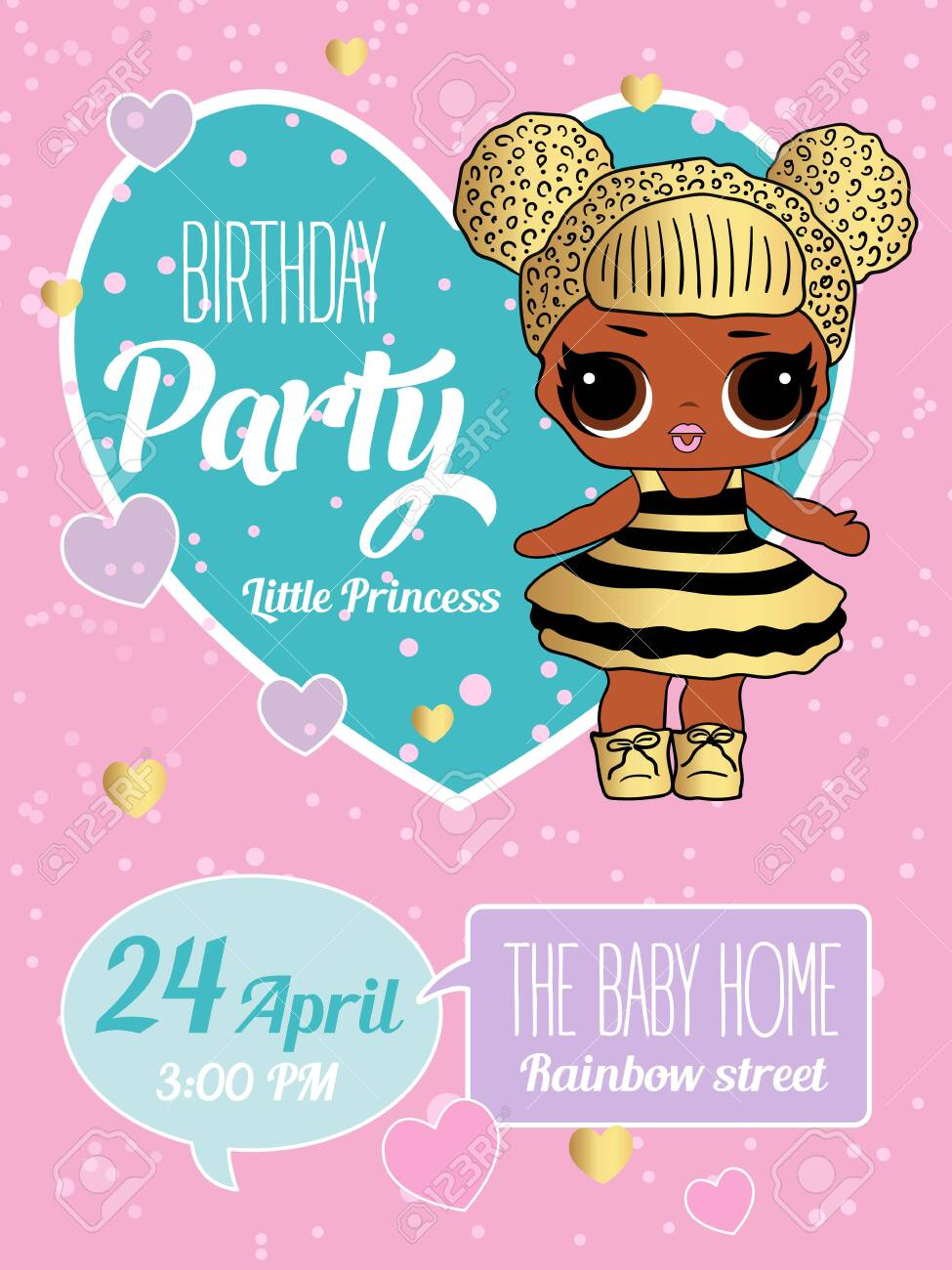 Birthday Invitation With Cute Lol Dolls Element Of Design For