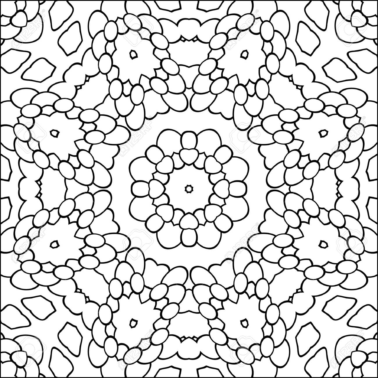 Simple Geometric Coloring Page For Kids And Adults Relax Black Stock Photo Picture And Royalty Free Image Image 145747167