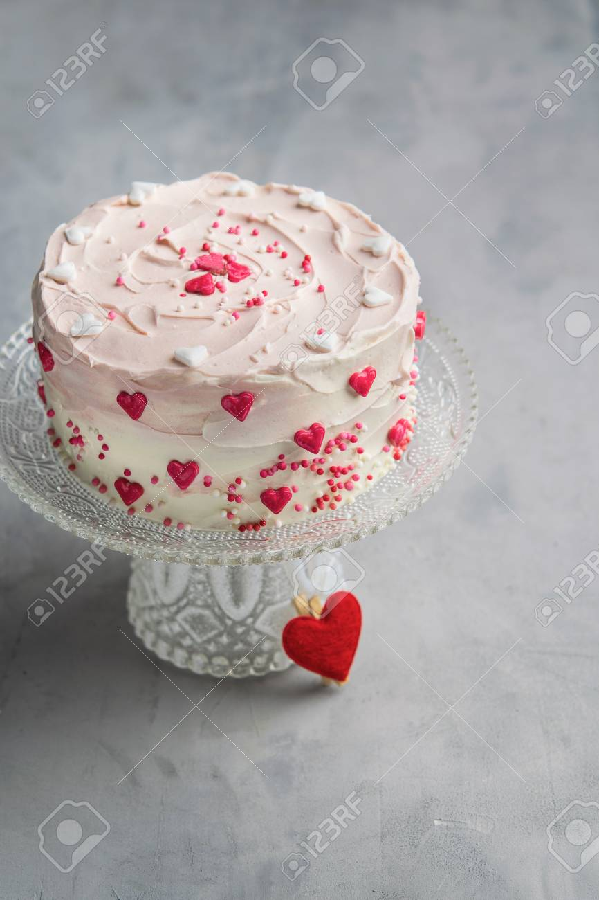 Fine Birthday Cake For Valentines Day With Pink Hearts And Colorful Funny Birthday Cards Online Elaedamsfinfo