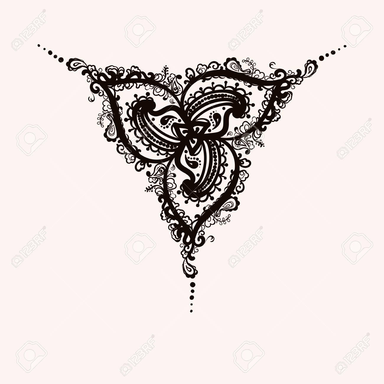 Mehndi Indian Henna Tattoo Hand Drawn Vector Illustration Royalty