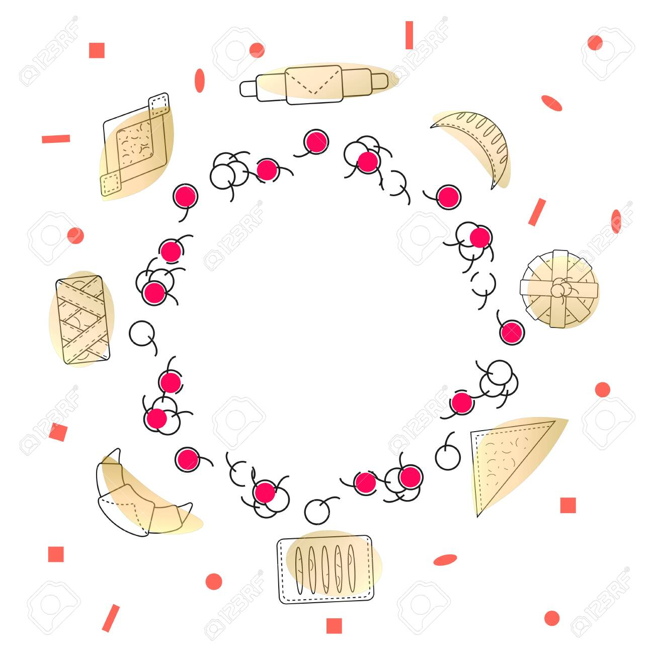 Decorative wreath of pastry cherries and fresh pastries and buns. Set of bakery and pastry products in outline style on white background. Vector illustration for bakeries, cafe, menu. - 128112605