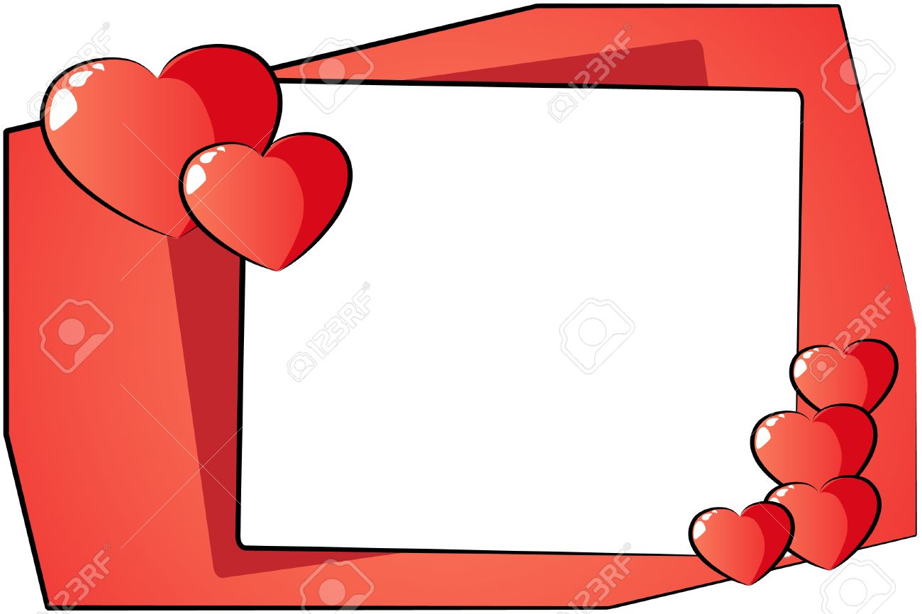 St Valentine Card With Hearts And Frame Cartoon Style Royalty – Saint Valentine Card