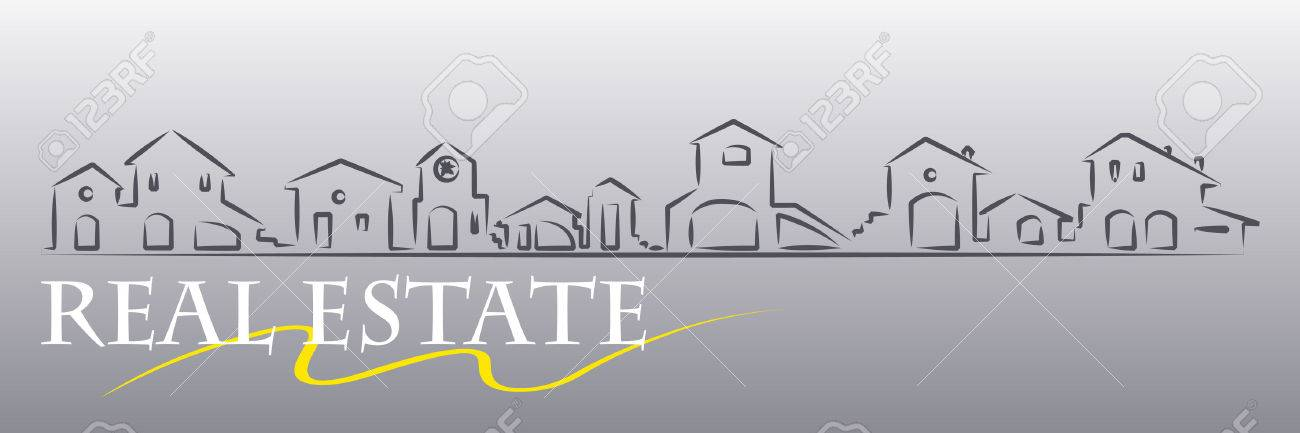 Real estate business card with houses silhouette - web banner useful Stock Vector - 4120371