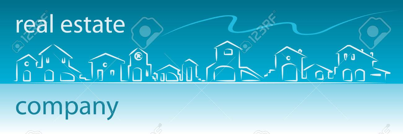 Real estate business card with houses silhouette - web banner useful Stock Vector - 4120373