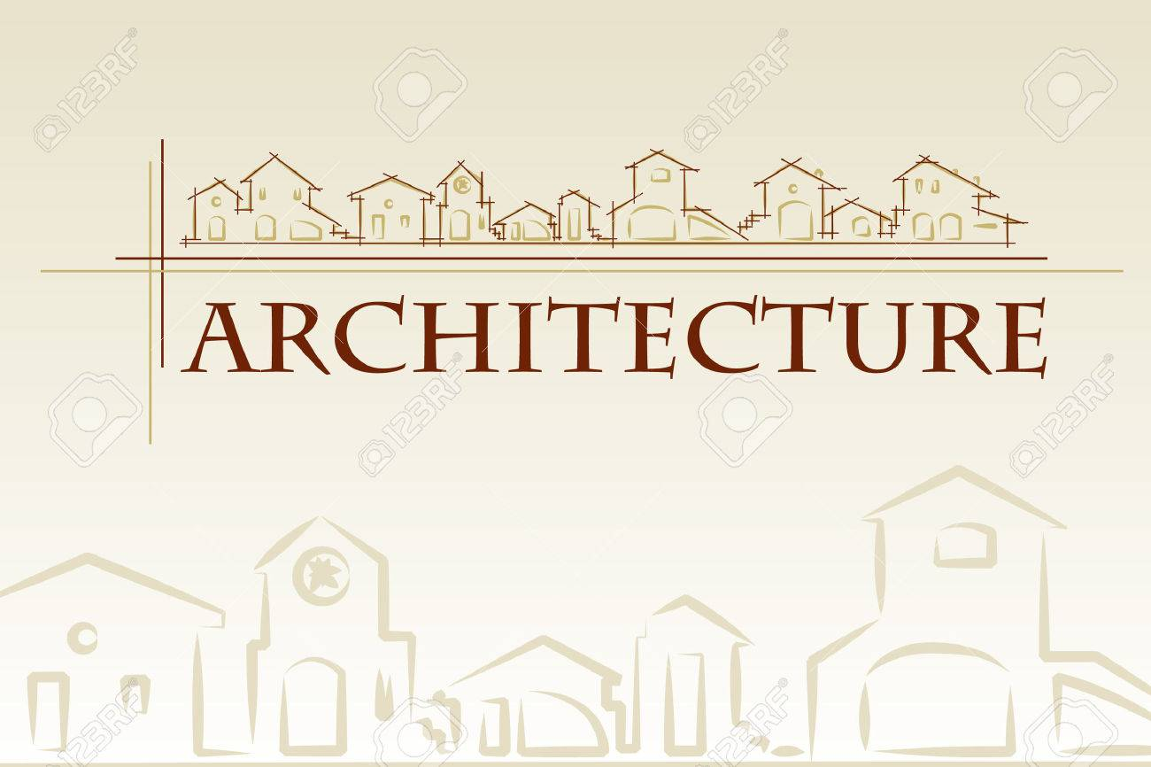 architecture - construction company. Project card Template classic style - Vector illustration Stock Vector - 4223184