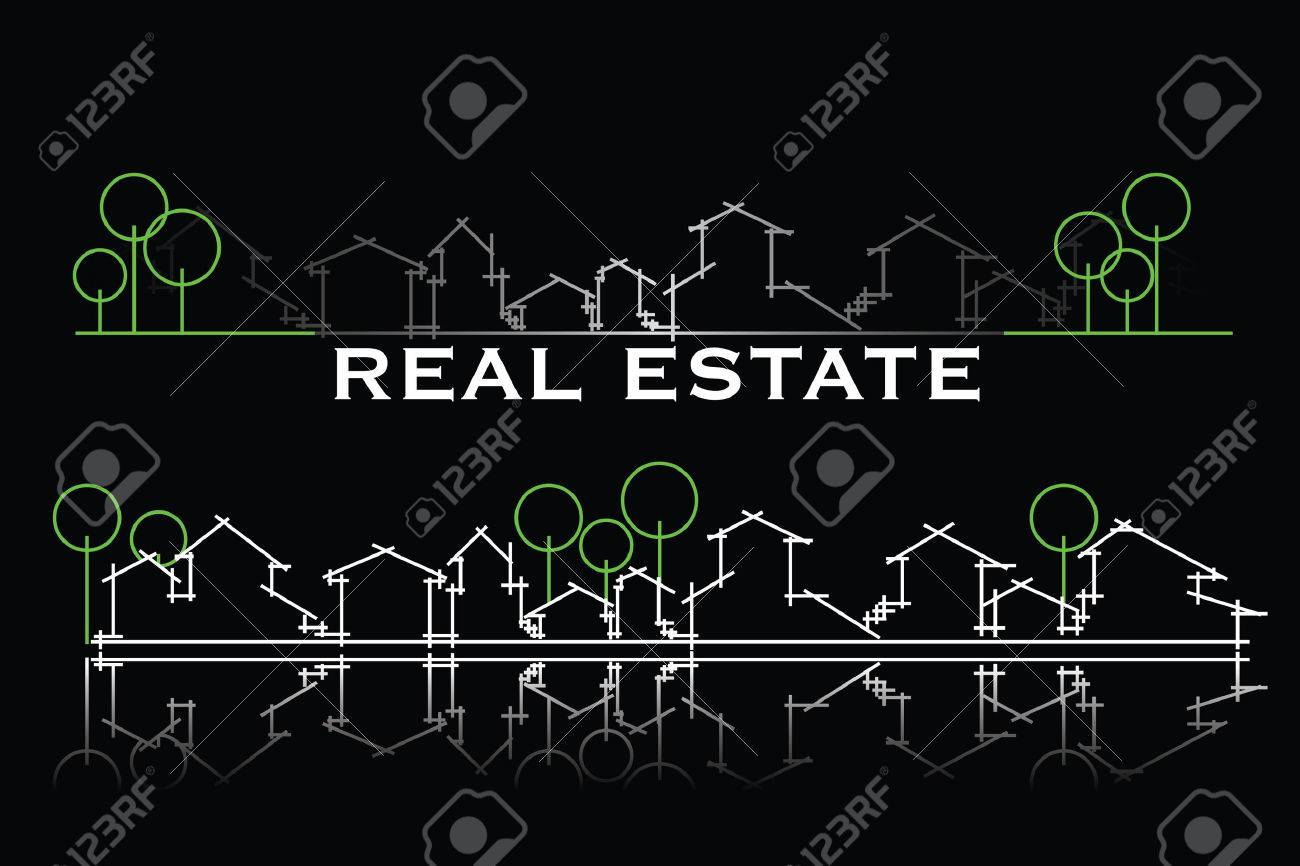 Real estate business card with houses and trees silhouette Stock Vector - 4261355
