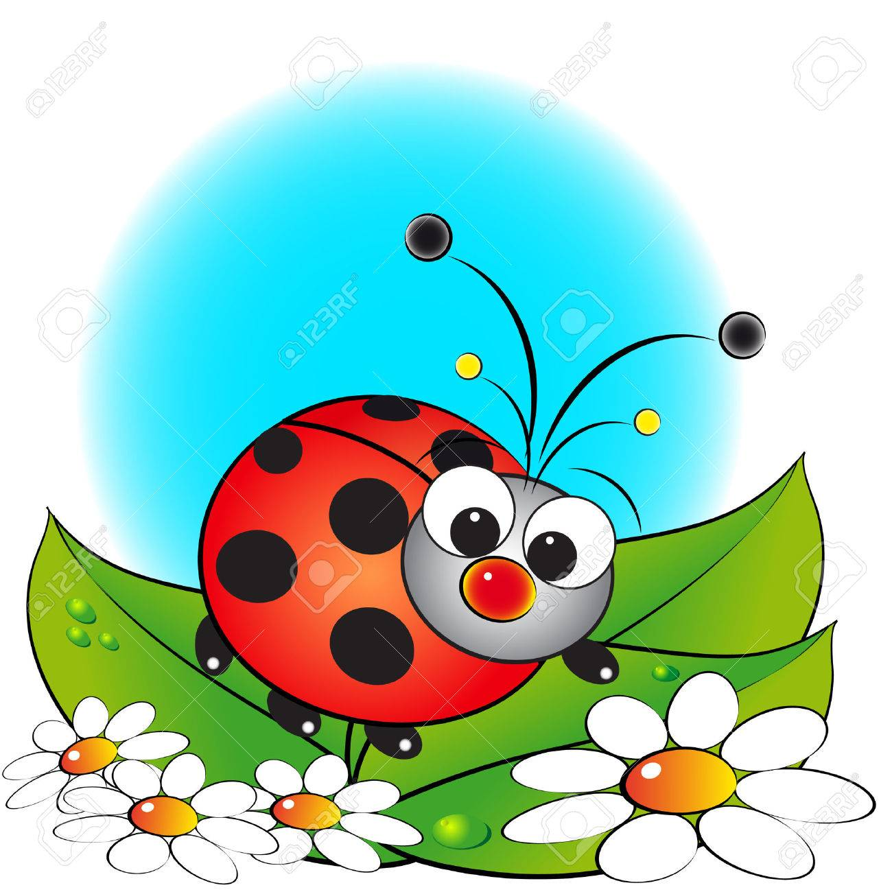 Ladybug and flowers - Card for kids - Scrapbook and labels useful - 4504215