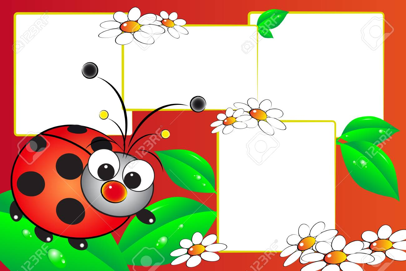 Kid scrapbook with a ladybug and flowers - Photo frames for children - 113566758