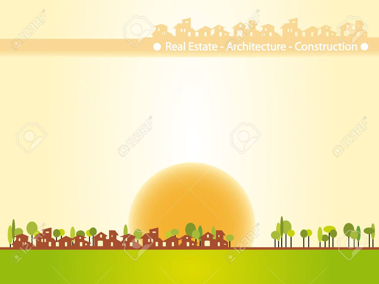 Brochure cover - Real estate, architecture, construction company. Warm tones, houses silhouettes Stock Vector - 4525332