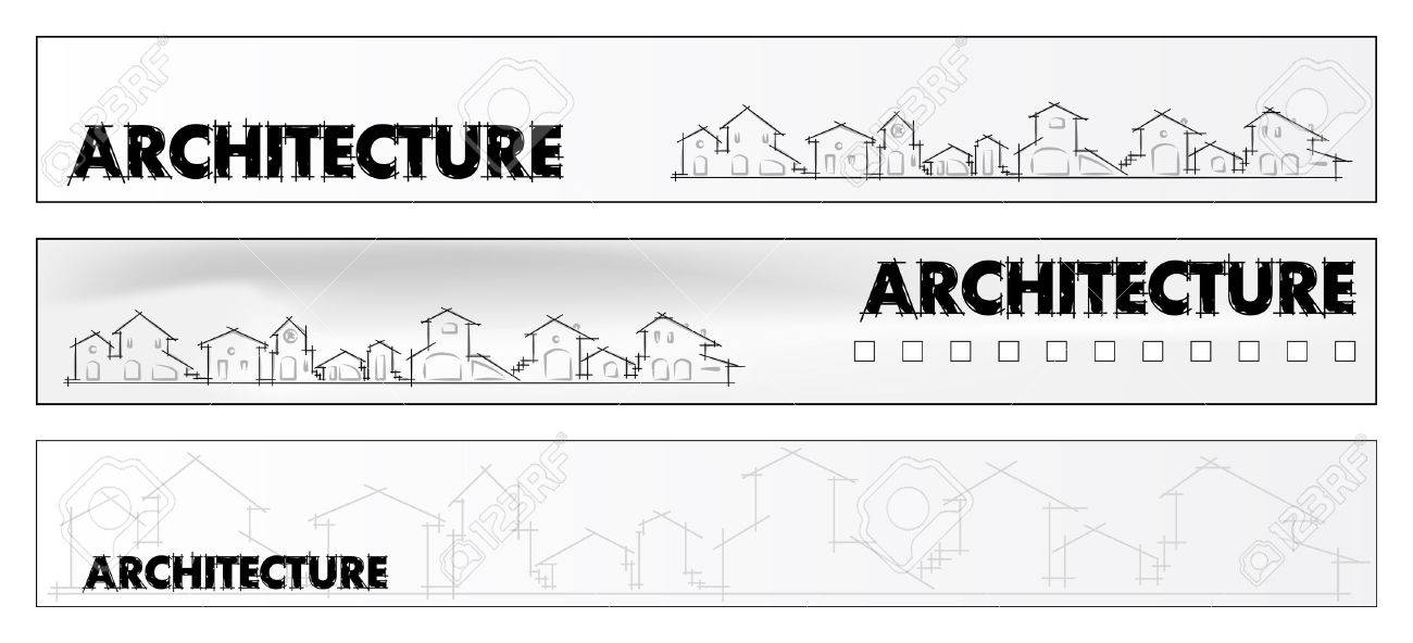 Web banner business card real estate architecture construction vector web banner business card real estate architecture construction company houses silhouettes and rainbow labels useful reheart Images
