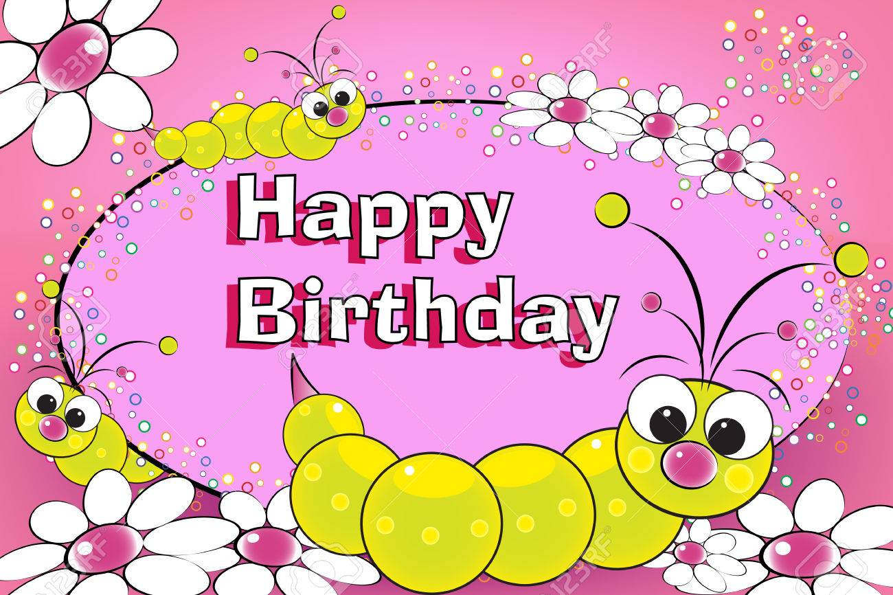 grub and flowers birthday card for kids royalty free cliparts