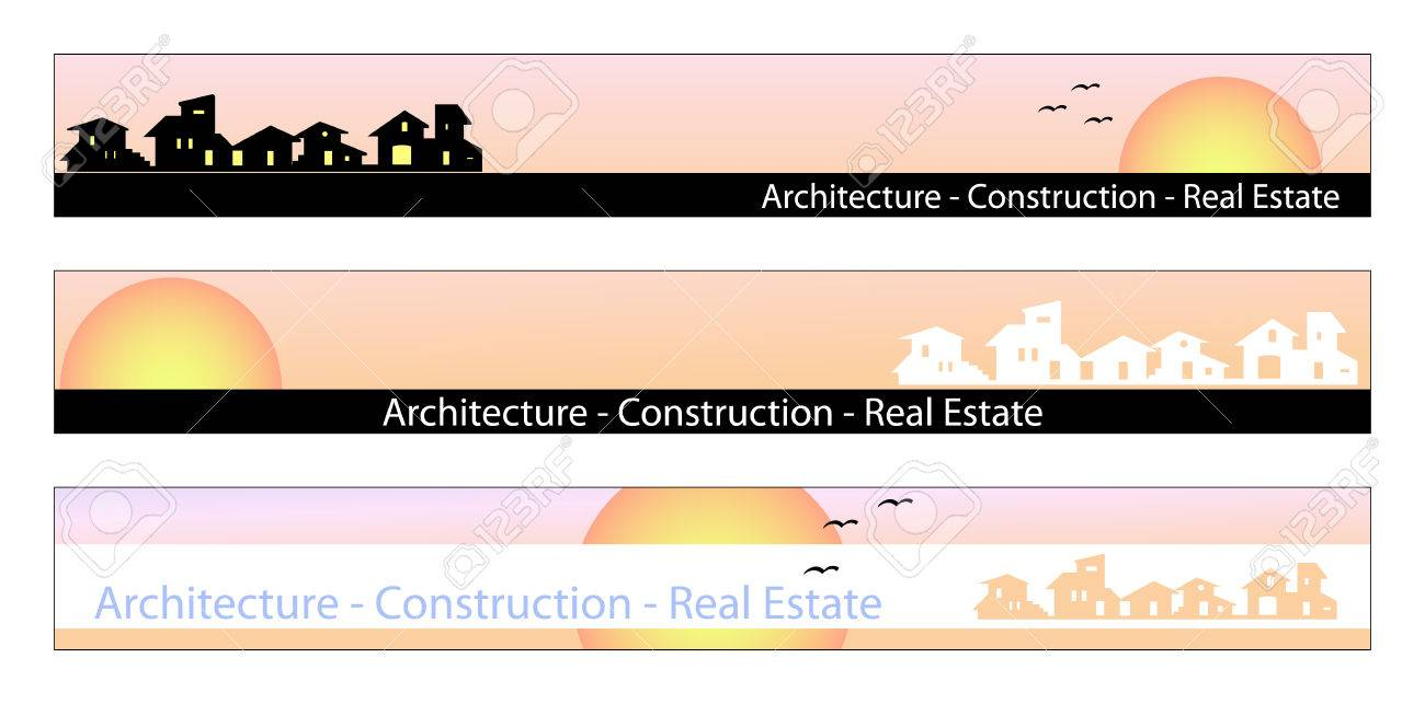 Web banner, business card, label or insignia for real estate, architecture, construction company Stock Vector - 4822363