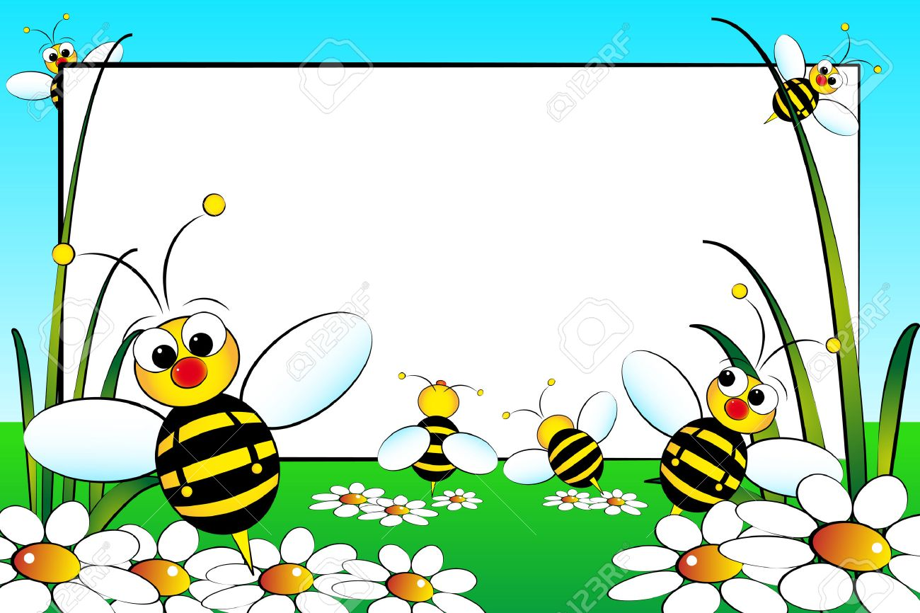 Kid scrapbook with bees and white daisies - Photo or message frames for   children Stock Vector - 4902959