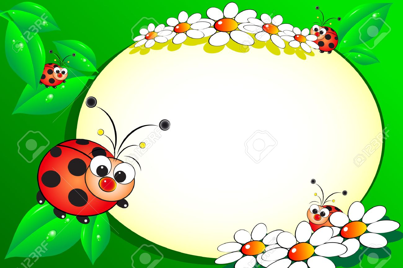 Kid scrapbook with ladybug and white daisies - Photo or message frames for children - 4936513