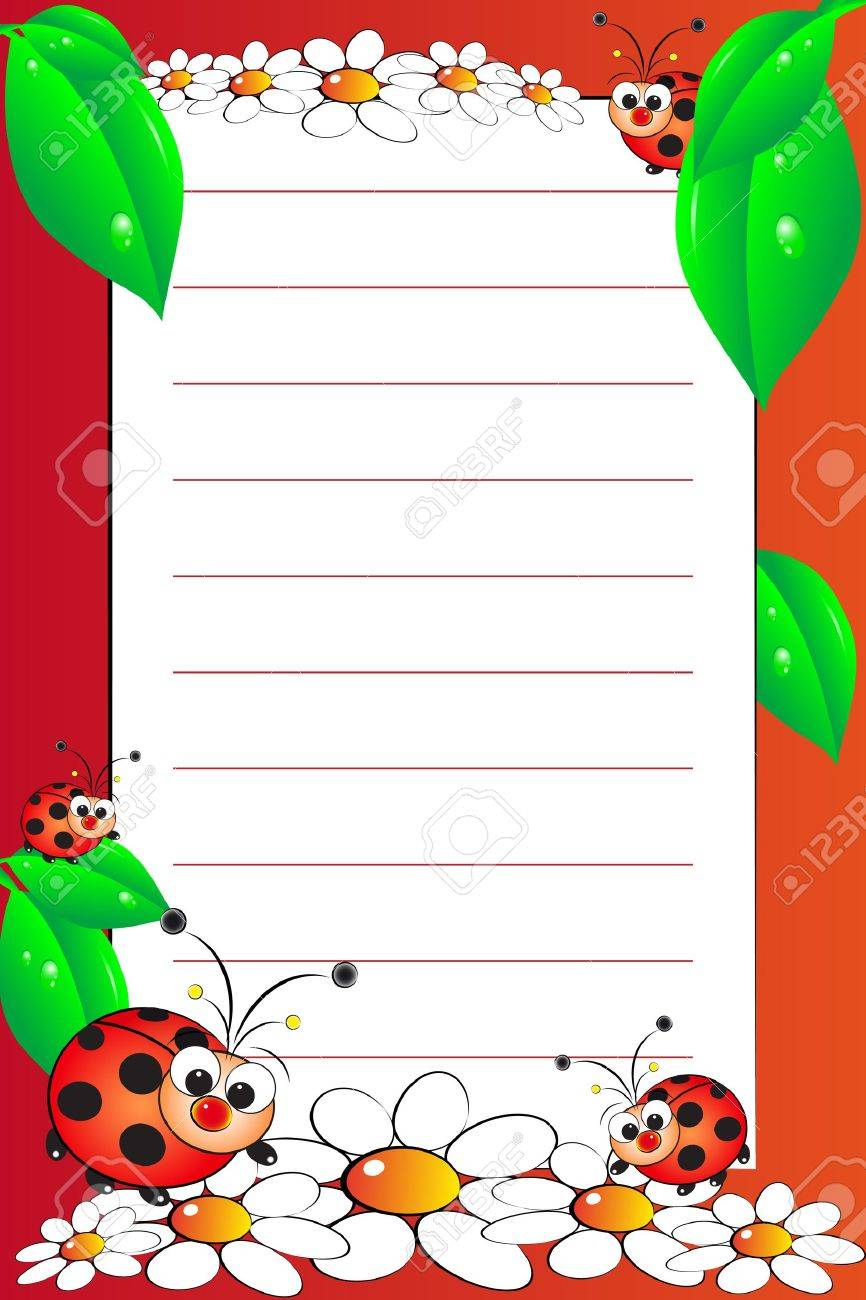 kid notebook page with ladybugs and white daisies lined page