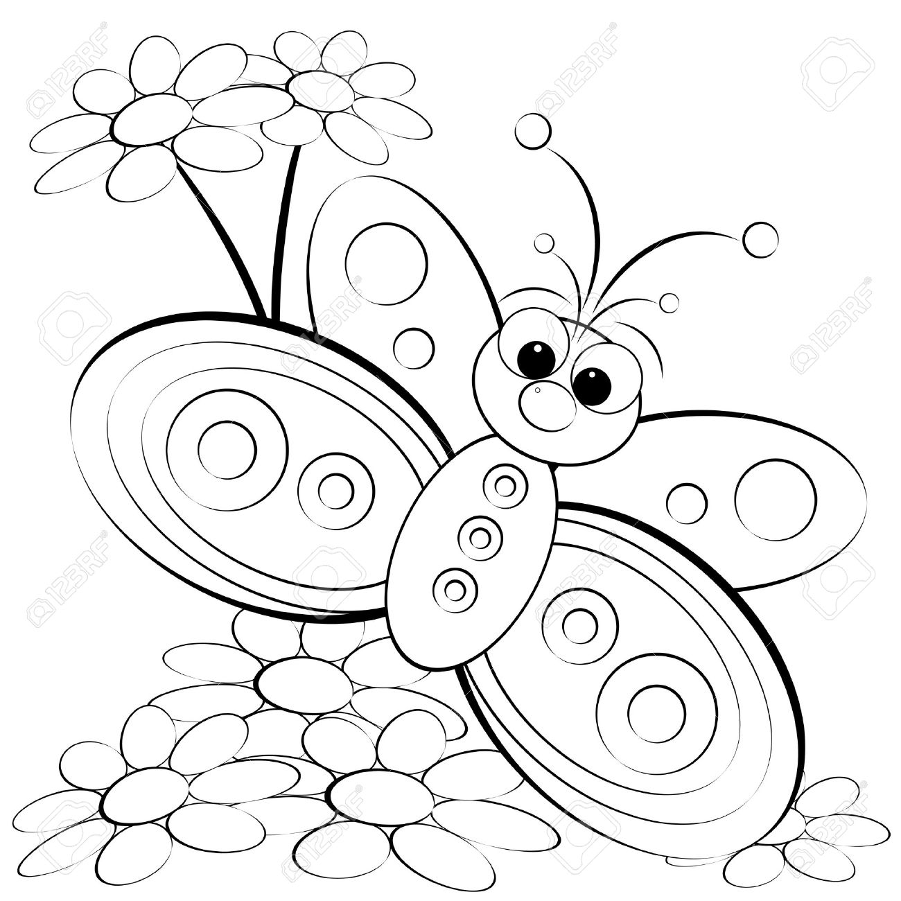kids illustration with butterfly and daisy coloring page royalty