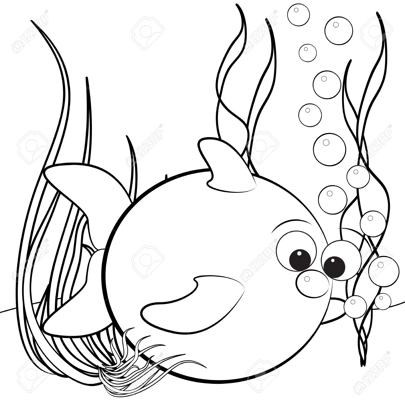 kids illustration with fish and air bubbles coloring page