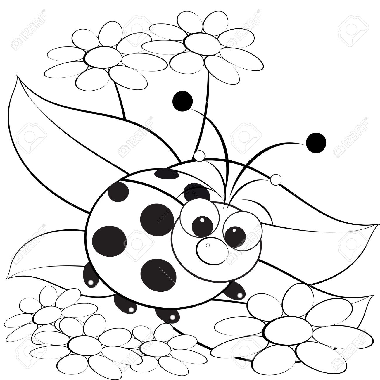 Coloring pages of ladybugs for kids - Kids Illustration With Ladybug And Daisy Coloring Page Stock Vector 5029268