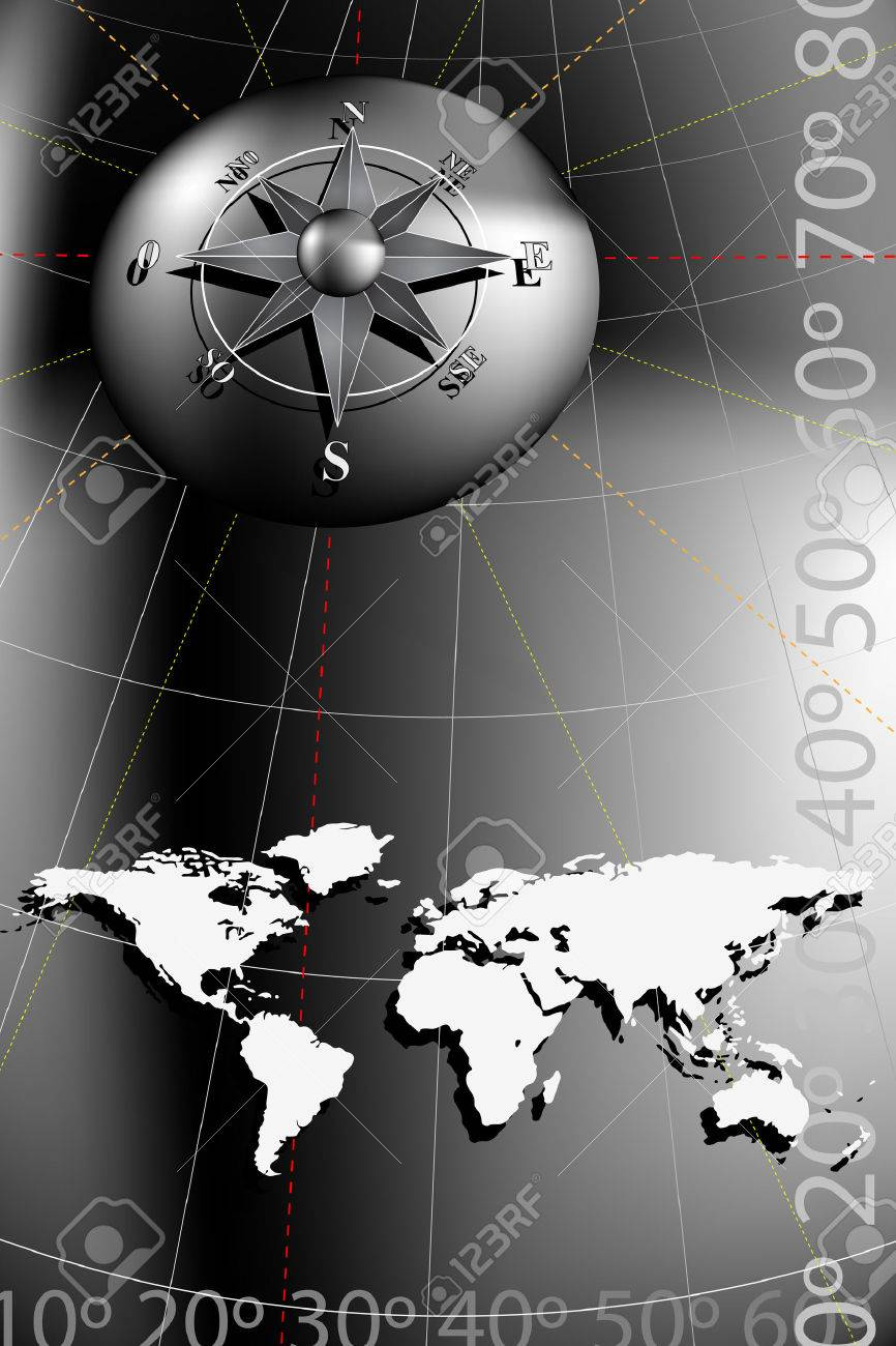 World Map With Compass Rose Black And Silver Tones Royalty Free