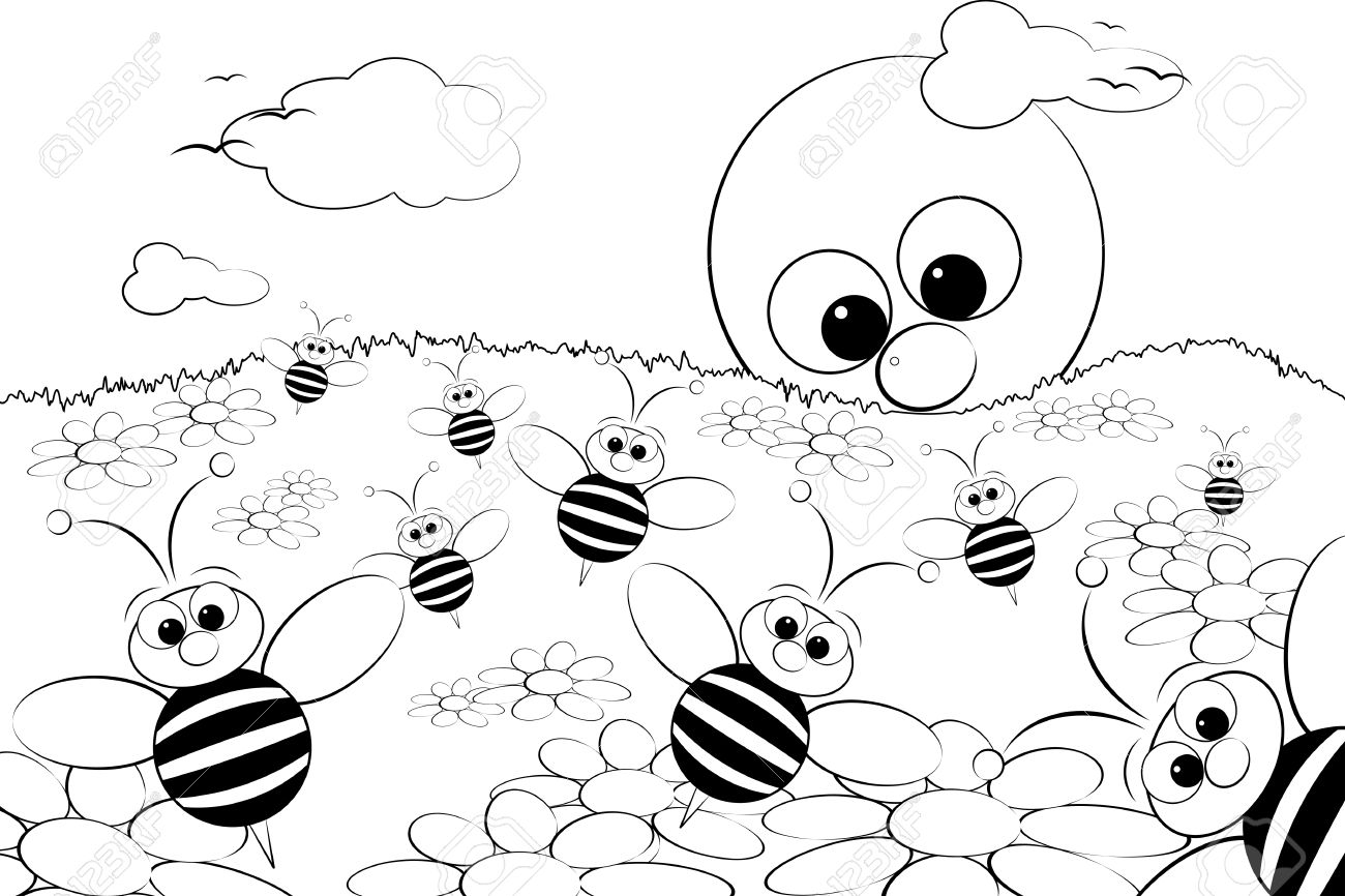 Amazing Coloring Page For Kids   Good Morning With Flowers, Bees And Sun Stock  Vector
