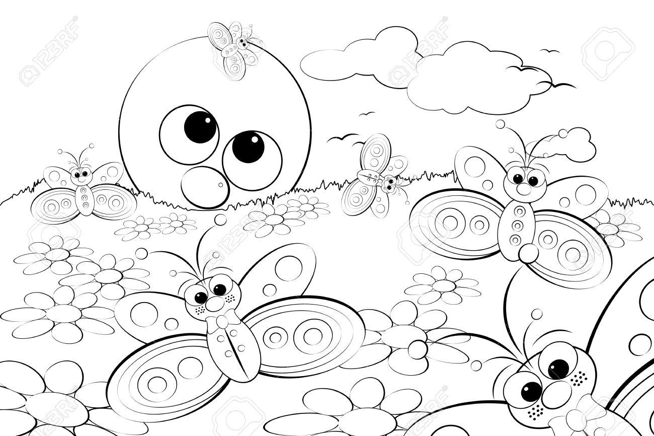 Página Para Colorear Para Niños - Buenos Días, Con Flores, Mariposas ...