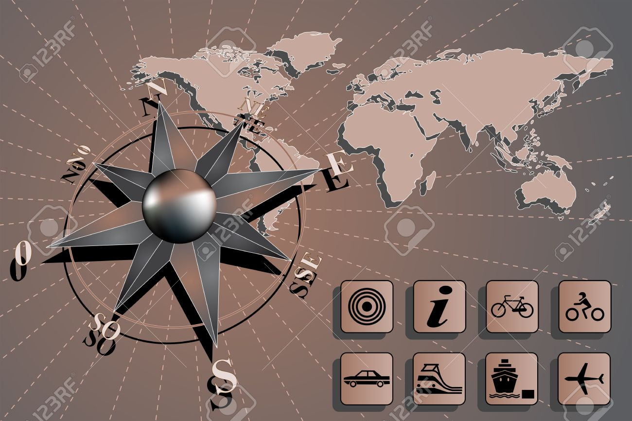 World Map With Compass Rose And Travel Icons Royalty Free Cliparts