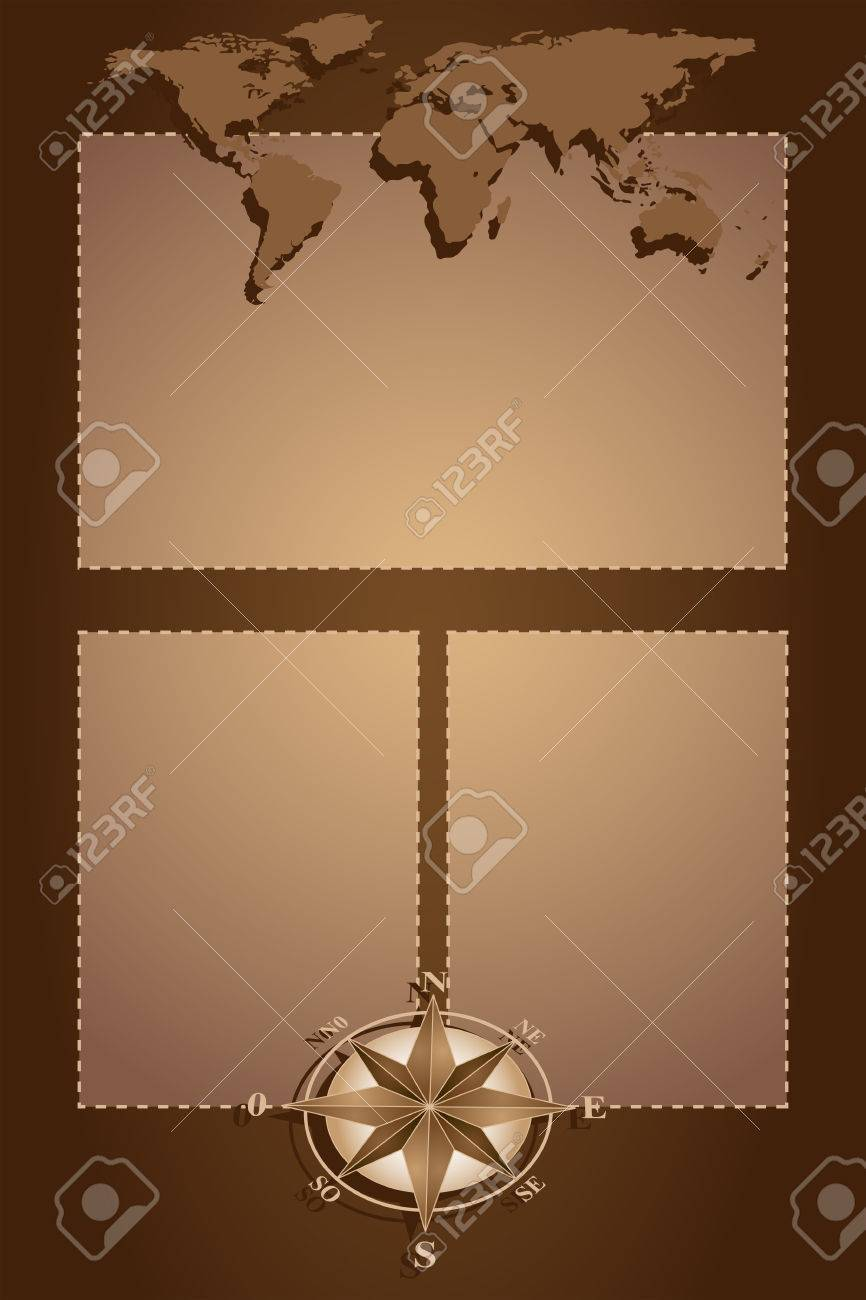 Scrapbook with map world, globe and compass rose, vintage style Stock Vector - 5291309